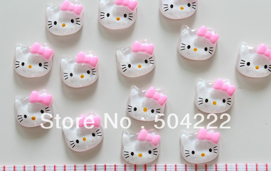 set of 100pcs clear glitter kitten kitty head face children kawaii Cabochon Cabs flatback 20mm Resin