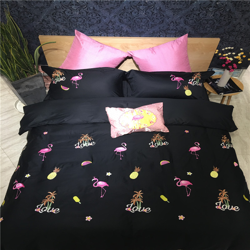 font b Cute b font Flamingo Black Solid Queen King Size Egyptian Cotton Embroidery Technics