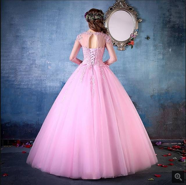 placeholder 2017 gorgeous ball gown lace appliques pink prom dresses long  sleeve sheer back sexy prom gowns 82bf74dd2948