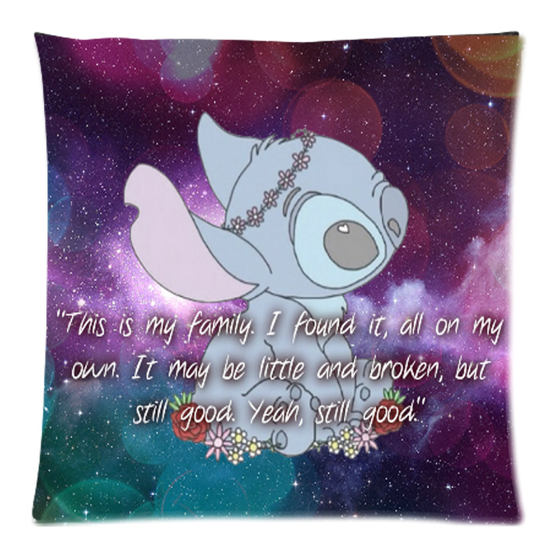 Customized Sofa Cushion Cover Lilo Sch Ohana Quote Throw Pillow Case Decorative Cotton Line Home
