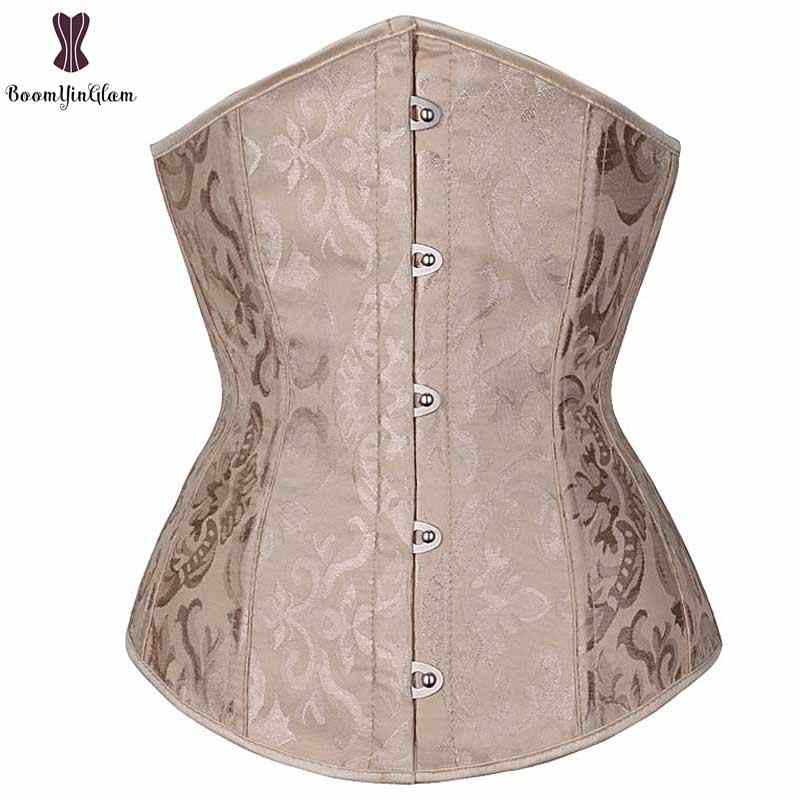a76eb4b59ad Under Bust Jacquard Corset Top Plus Size Solid Corsets Fish Boned Women  Bustier Front Busk Closure