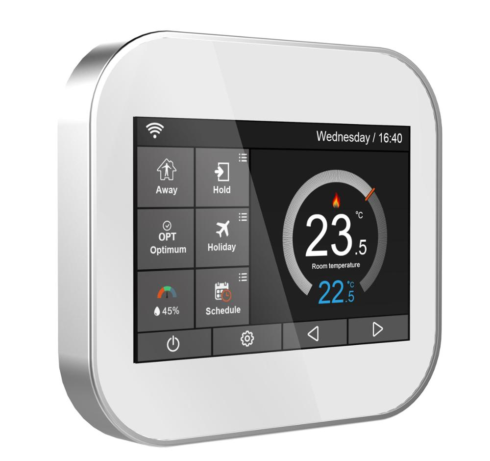 Wifi color touch screen thermostat for fan coil with English/Russian/Polish/Czech/Italian/Spainish control by android IOS phone touchscreen programmable wifi thermostat for 2 pipe fan coil units controlled by android and ios smart phone in home or abroad