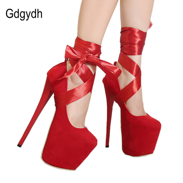 Gdgydh Sapatos Sexy Sapatos de Plataforma das Mulheres Dedo Do Pé Redondo Tiras Cruzadas de Ultra Saltos finos Sapatos de Salto Alto Mulheres Bombas de Casamento Nó Vermelho sapatos