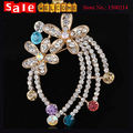 Brooche Flower Lapel Pins Gold Plated Crystal Brooch Bouquet Wedding Safety Pins Suit Scarf Pin Accessories for Women