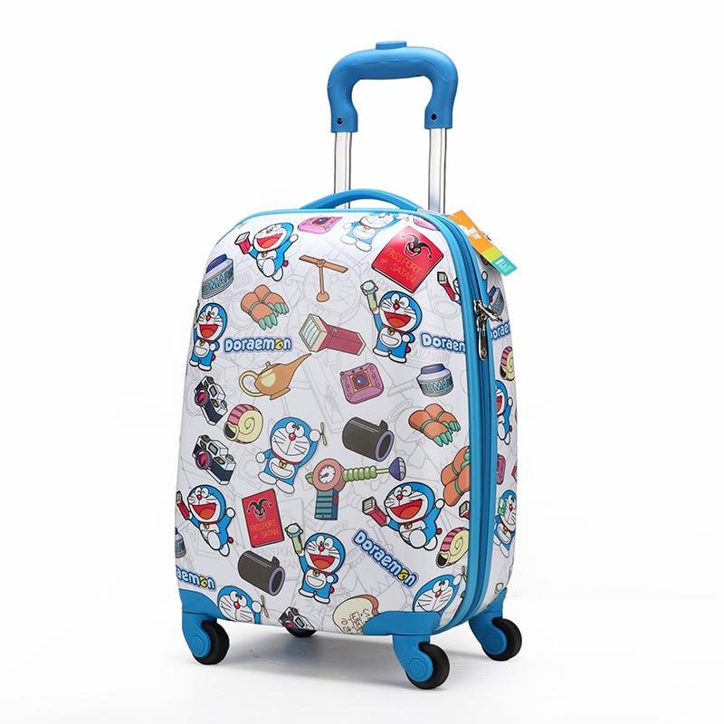 وصول جديد! أطفال 18 بوصة حقيبة سفر حقائب الأمتعة الكرتون على عجلات عالمية ، حقائب سفر زرقاء ، أطفال حقيبة سفر عربة