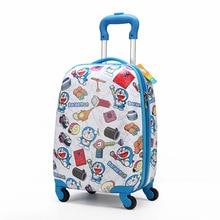 Wholesale!Kids 18inch cartoon travel luggage suitcase bags on universal wheels,blue travel luggage,kids travel trolley bag