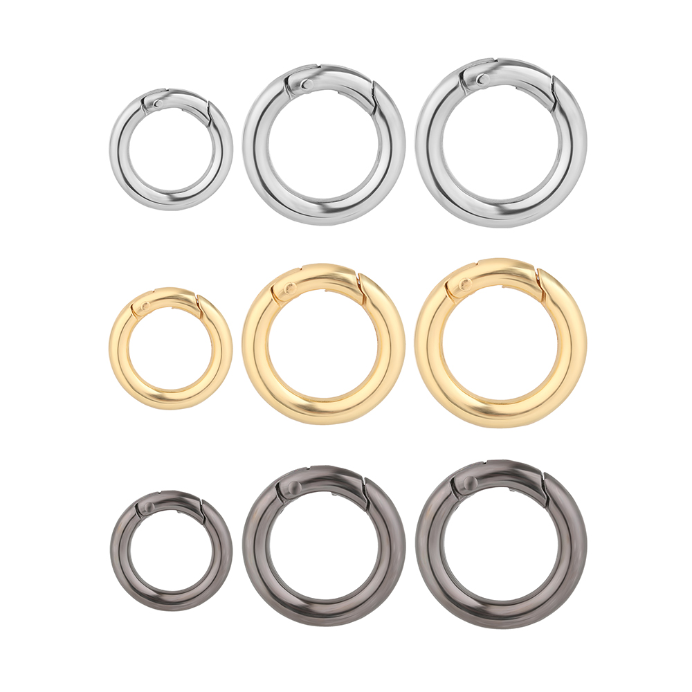 2PC Zinc Alloy Plated Gate Spring O-Ring Buckles Clips Carabiner Purses Handbags Round Push Trigger Snap Hooks