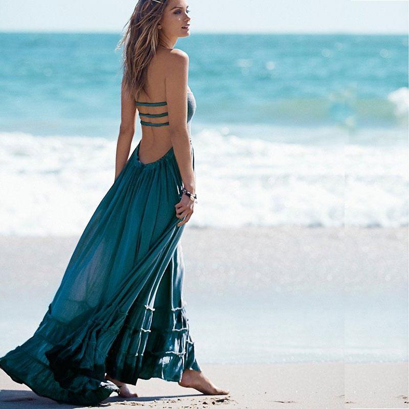BOHO inspiré été robe licou dos nu sans manches cordon wasit maxi robes coton robe femmes hippie chic vestidos 2019