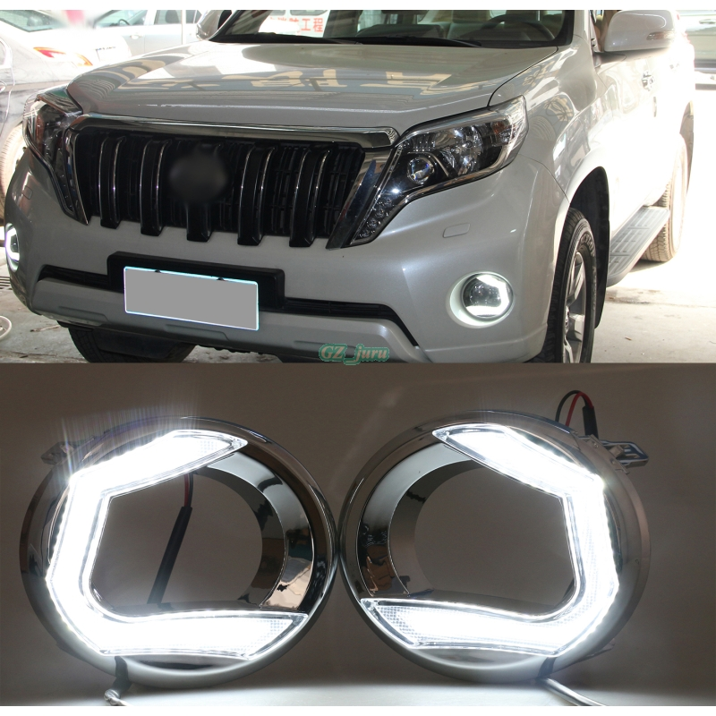 2x LED Daytime running lights Fog Light Lamp DRL For Toyota Land Cruiser Prado 2014 2015 2016 Car styling dimmed light function car led drl daytime running lights with fog lamp hole for toyota prado land cruiser fj150 lc150 2010 2013