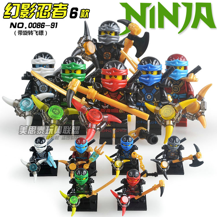 6pcs Phantom Ninja Kai Jay Zane Nya Cole Lloyd with Darts Sword Assemble Model Building Brick Blocks minifig Kids Toys game darts legering metalen wapen model draaibaar darts cosplay props voor collectie fidget spinner hand anti stress