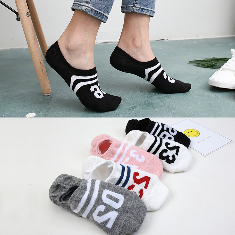 5 Pairs Women Socks Slippers Boat Invisible Short Cartoon Animal Number Solid Low Cut Ankle Sports Socks Girls Cotton Cute Socks