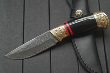 2016Damascus, high-grade tea knife Ox horn golden flower Damascus steel knife boutique gift collection straight knife