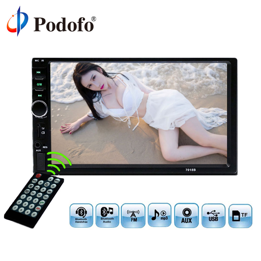 Podofo Car Radio Player 2Din 7018B Autoradio Stereo 7 LCD Touch Screen auto Radio Bluetooth MP5 Player Support Rear View Camera podofo 7 inch touch screen 2 din car radio 2din in dash auto audio player stereo bluetooth usb sd mp5 rear view camera autoradio