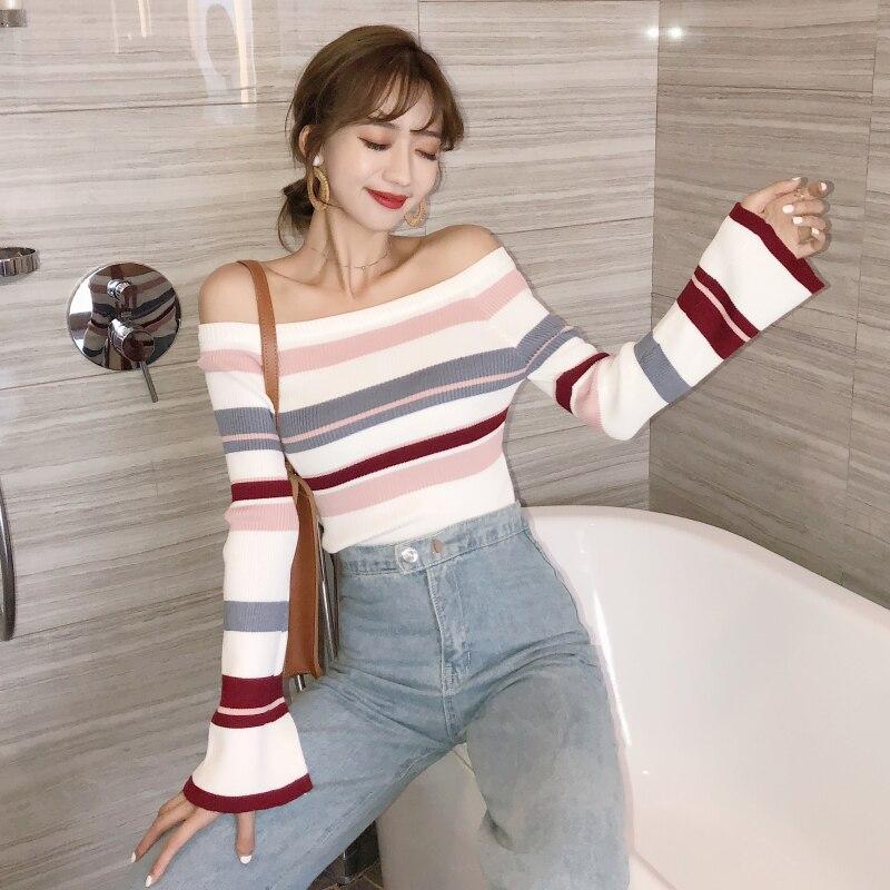 2019 Herbst Winter Koreanischen Wilden Modelle Geometrische Farbe Passenden Glocke Hülse Schlank Stretch Pullover Frauen Kleidung Elegant Im Stil