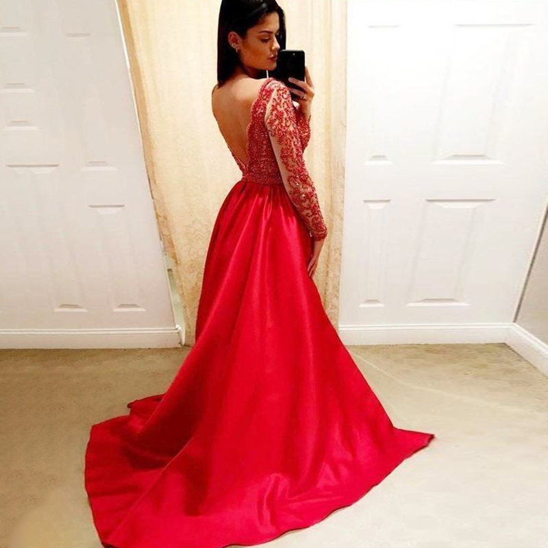 V Neck Red   Prom     Dresses   Long Sleeves A Line Sweep Train Beading V Back Floor Length Evening Formal Party   Dress   Vestido De Fiesta