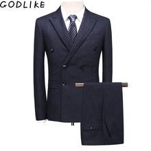 Double Breasted Suit 2019 Mens Slim Fit Grey Navy Blue Mens Stripe Suits Classic Formal Dress Wedding 3 Piece Suit Man(China)