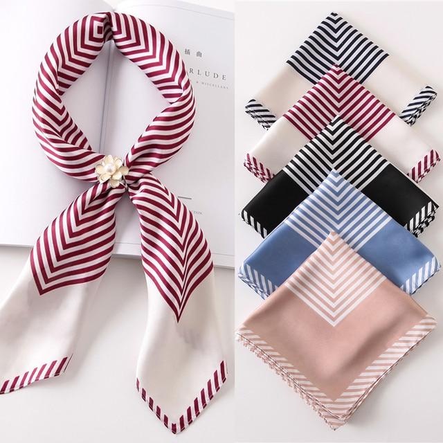 Лидер продаж Для женщин шарф Элитный бренд Полосатый в горошек хиджаб чистый шелковые шарфы платки с квадратным носком шарфы палантины 2017 новая мода