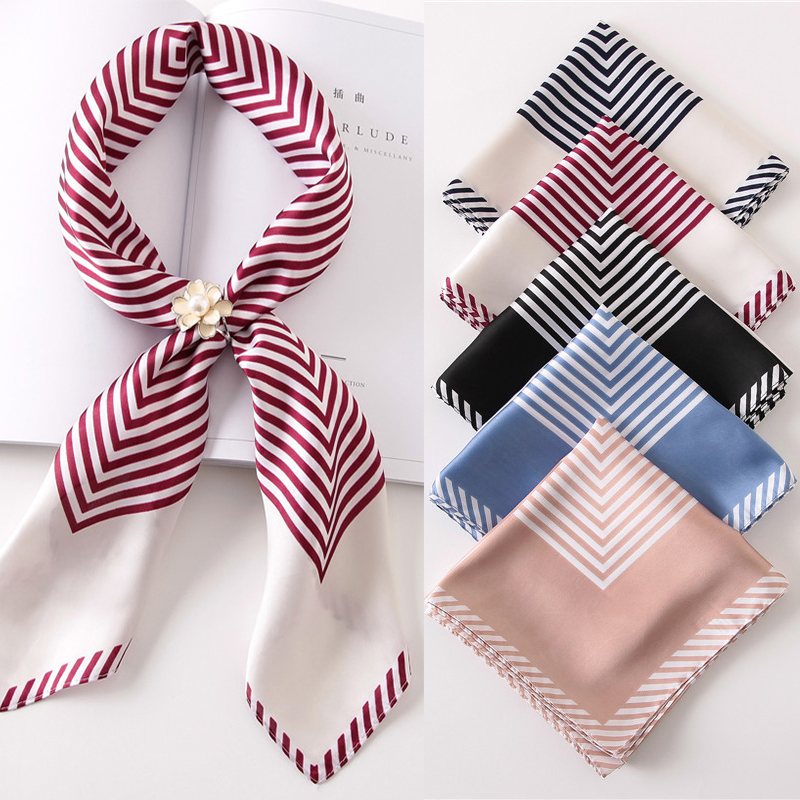 Hot Sale Women Scarf Luxury Brand Striped Dots Print Hijab Pure Silk Scarfs Foulard Square Head Scarves Wraps 2017 NEW Fashion