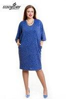 L 6XL Large Size 2018 Spring Summer Dress Big Size Casual Loose Dress Blue Red Elegance