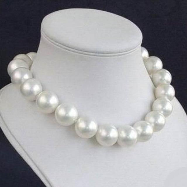 Neue 12 MM WEIßE PERLE HALSKETTE Frauen Mädchen Geschenke Großen Größe Perlen Runde Stein Ornamente Perlen Mode Schmuck Machen Design