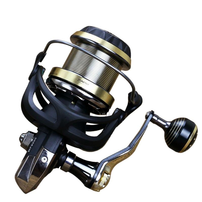WOEN WF4000 9000 grande roda tiro Longo 9BB   1BB copo Fio de  metal roda de Pesca rolamentos de aço inoxidável Duplo botão de sinergia     D2Carretilhas de pesca