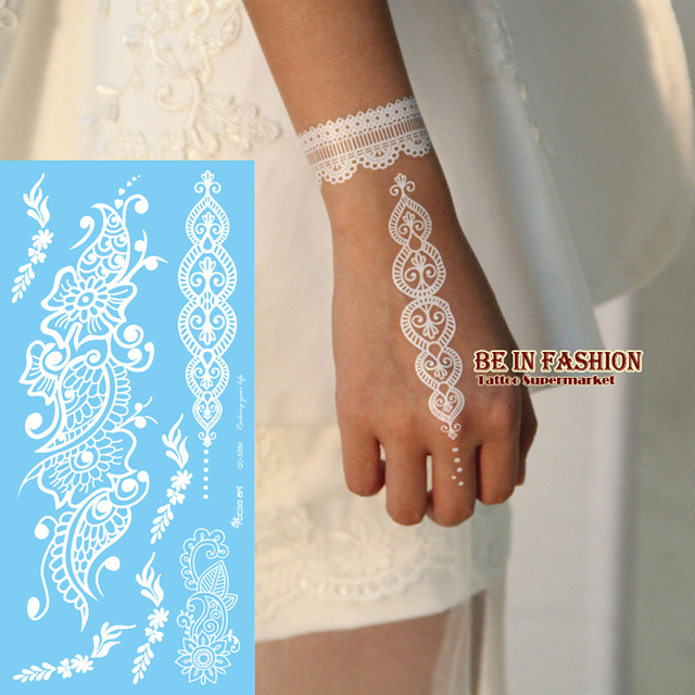 1pc Hot Lace Design Flash White Henna Tattoo Stickers Fake Tatoo
