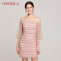 ONERILA высокого класса BlingBling Slash шеи бриллиантами Розовое платье лоскутное кружева три четверти рукав Империя Мини оболочка сексуальные плат