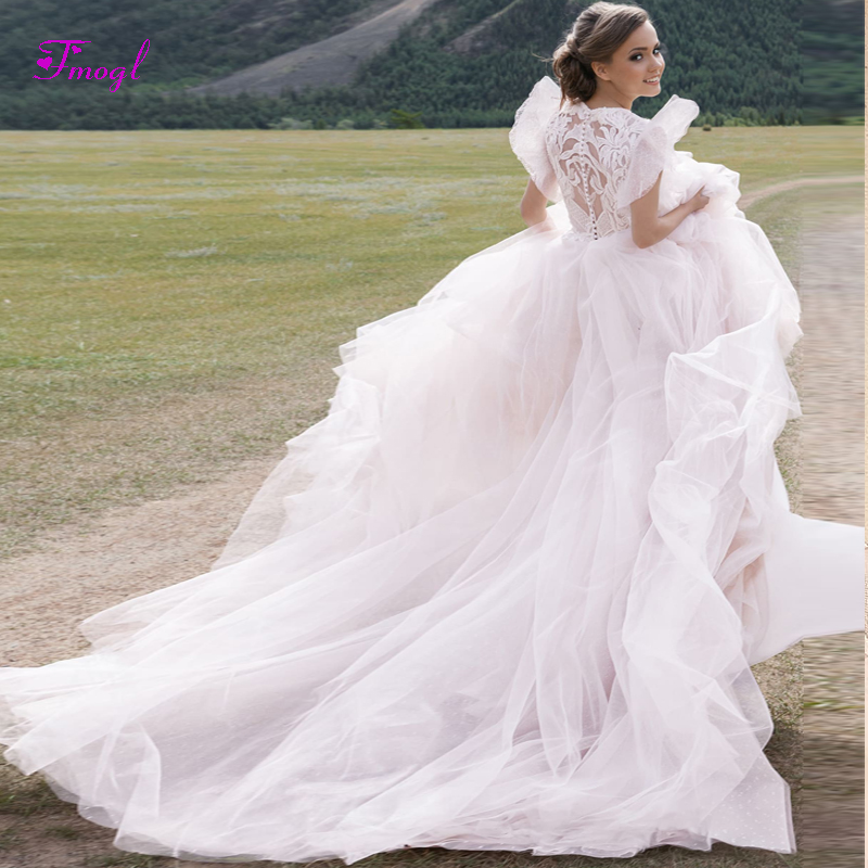 A Line Wedding Dresses With Cap Sleeves: Fmogl Graceful Appliques High Neck A Line Wedding Dress