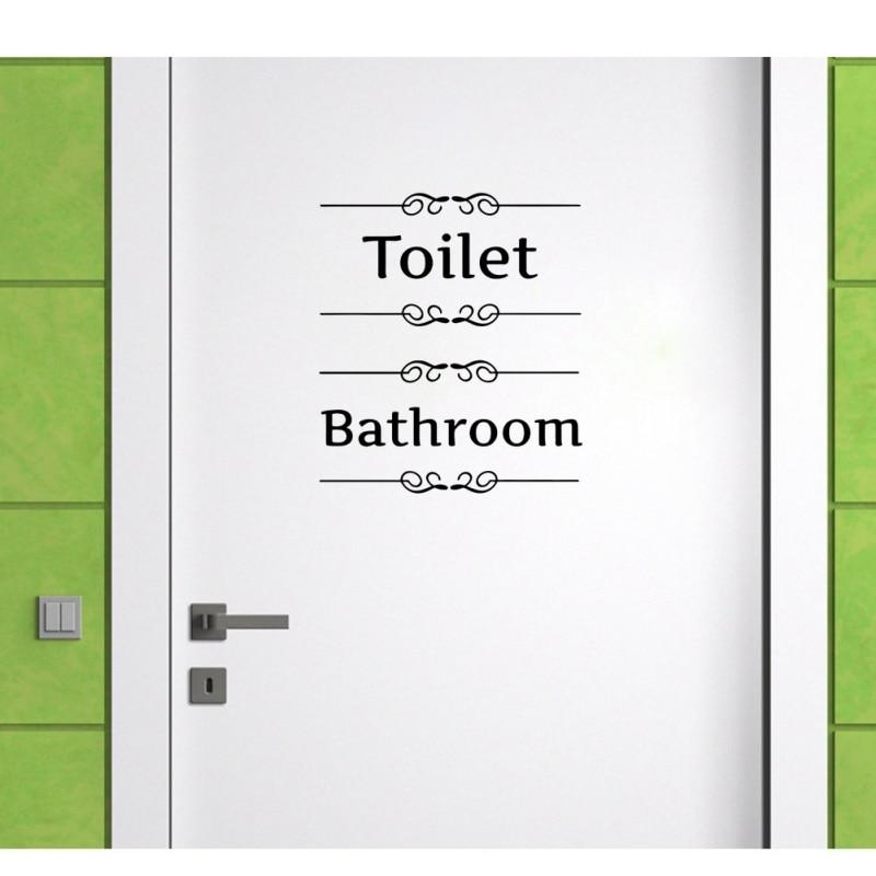 Письмо знак стены стикеры Съемный Декор стен наклейка двери наклейки для туалета Ванная комната Туалет WC
