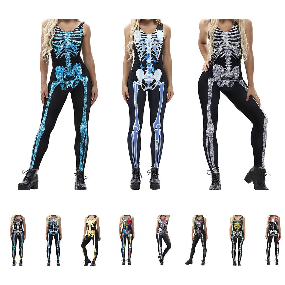 Sexy Halloween Carnival Costume Skeleton Frame Printing Sleeveless Stretch Jumpsuit Zombie Stage Performance Clothes Adult Women