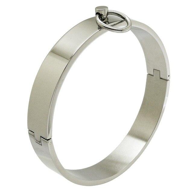 25013327d367d0 Poli en acier de verrouillage esclave cou col sexuelle desire cou manchette  amulette bijoux collier ras