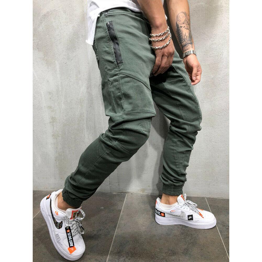Men Long Casual Jogger Denim Pants Man Zipper Ankle-tie Slim Trousers Cargo Joggers Pencil Long Pants Streetwear Fashion Pants