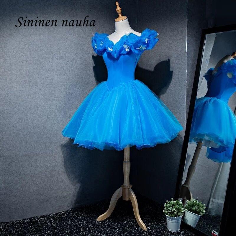 Short Prom Dresses Party Homecoming Dress For Girls Juniors Off Shoulder Ball Gown Organza Mini Vestidos De Festa Longo 202