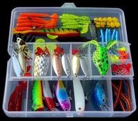 100PCS Fishing Fish Mix Lure Spoon Soft Capuchin maggots Frog Lure Crankbait Minnow box