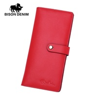BISON DENIM Fashion Women Wallets Genuine Leather Long Slim Bifold Wallet Credit Card Holder With Zipper