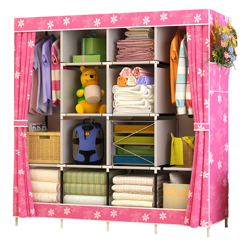 Simple Wardrobe Fabric Folding Cloth Wardrobe DIY Assembly Large Reinforcement Combination Closet Clothes Storage Cabinet
