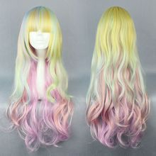 Synthetic Hair MCOSER Top Grade Rainbow Fashion Master Lolita 80cm Long  Synthetic Colorful Cosplay Wig