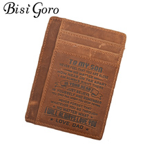 Bisi Goro 2019 Men Crazy Horse Genuine Leather Card Holder To Dad And Mom Or To  Son And Daughter Vintage Thin Card Package