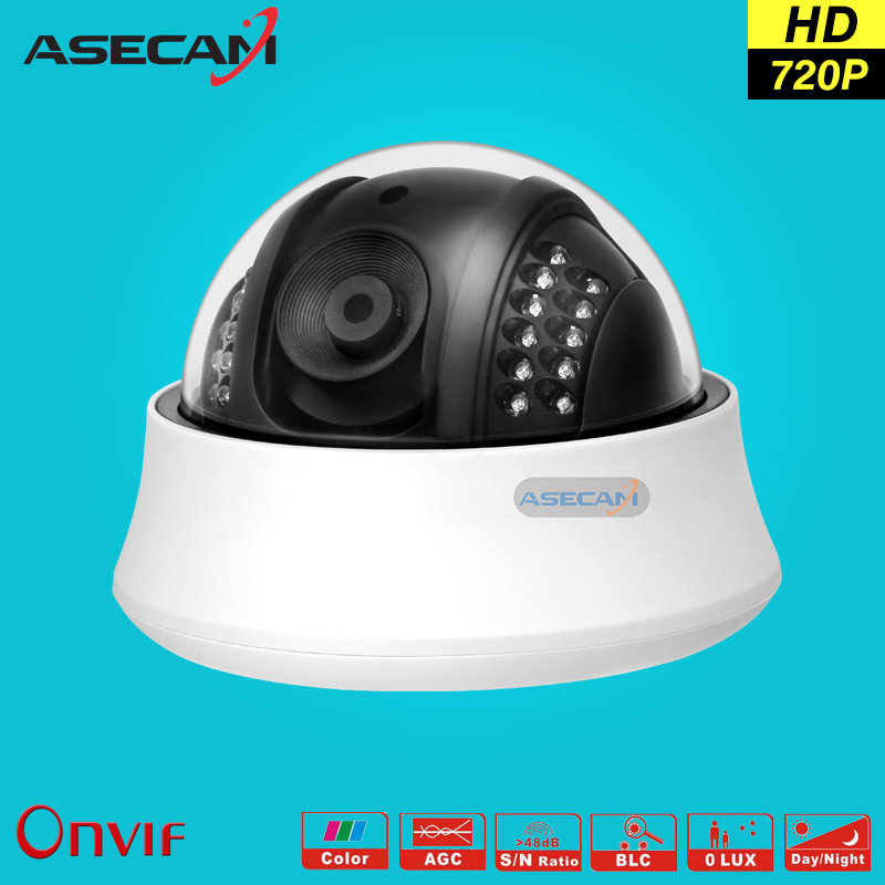 HD 720P IP Camera Onvif Black Indoor Dome WebCam CCTV Infrared Night Vision Security Network Smart home 1MP Video Surveillance hd real 1 3cmos 1200tvl cctv analog camera security surveillance indoor dome 22leds infrared ircut night vision color home video