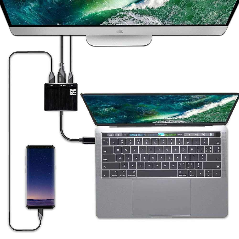 3-In-1 Thunderbolt 3 Tipe C Ke Usb C Usb 3.0 Hub Adaptor Multiport HDMI 2.0 4K 60Hz USB 100W PD Pengisian Port untuk MacBook Pro