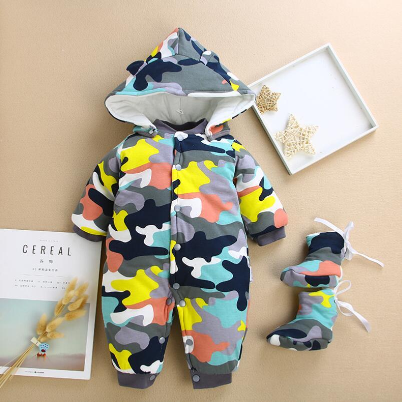 2019 Christmas Winter Warm Baby Girl Boy Rompers Snowsuit Cotton Hoodies Newborn Overalls Kids Jumpsuit Children Clothes Outwear