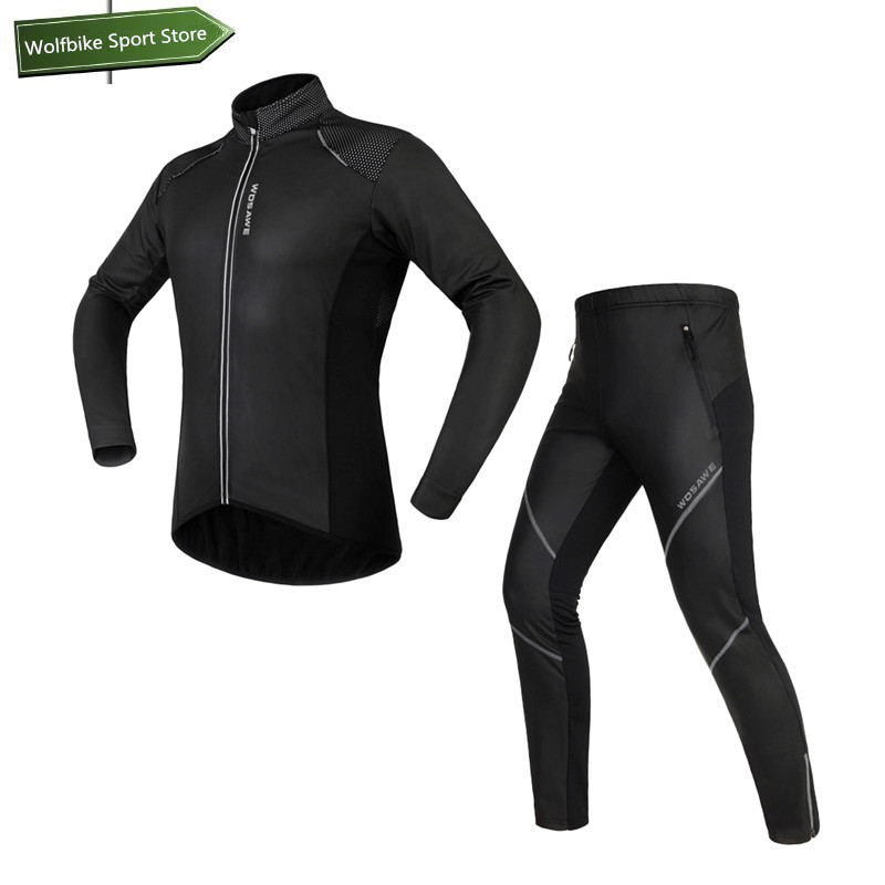 WOSAWE Winter Cycling Jacket Sets Waterproof Windproof Long Sleeve Bike Riding Coat Pants Suits Men Women Bicycle Clothing