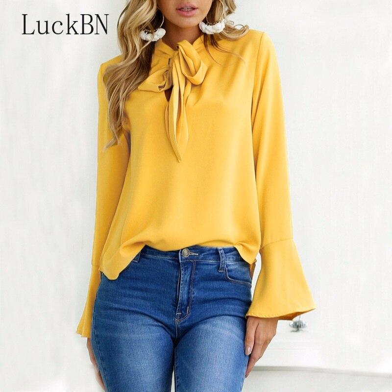 Office Bow Tie   Blouse   Women Lantern Sleeve Yellow Bows Necktie   Shirts   Female Elegant Work   Shirt   Casual Tops Spring Chiffon Top
