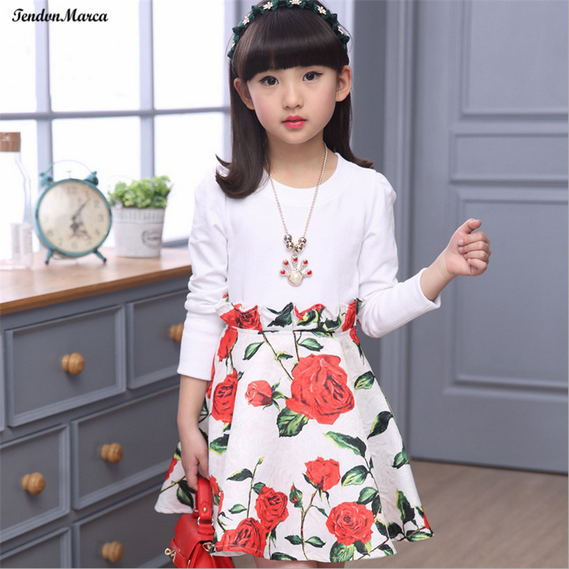 Girls Dresses Summer 2018 Children Dress for Girls 11 years old Long Sleeve Kids Clothes Girls Flower Girl Dress Party Dresses girls dresses fruit design pineapple orange dress summer kids clothes flower print for kids age 5678910 11 12 13 14 years old