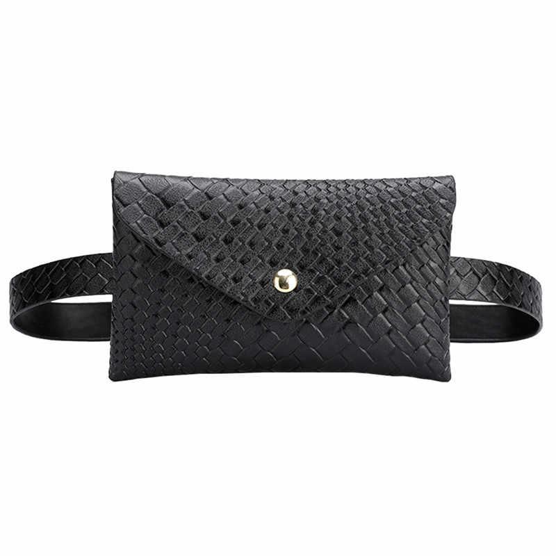 2019 ファッション女性ウィービングウエストバッグファニーパック Pu レザーベルトバッグ財布スモール財布電話キーポーチウエスト胸パック #40
