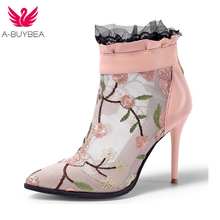 Womens Boots Autumn Winter 2018 New Fashion Lace Hollow Out Ladies Shoes Woman Leather Sexy Ankle Boots For Women Botas Mujer