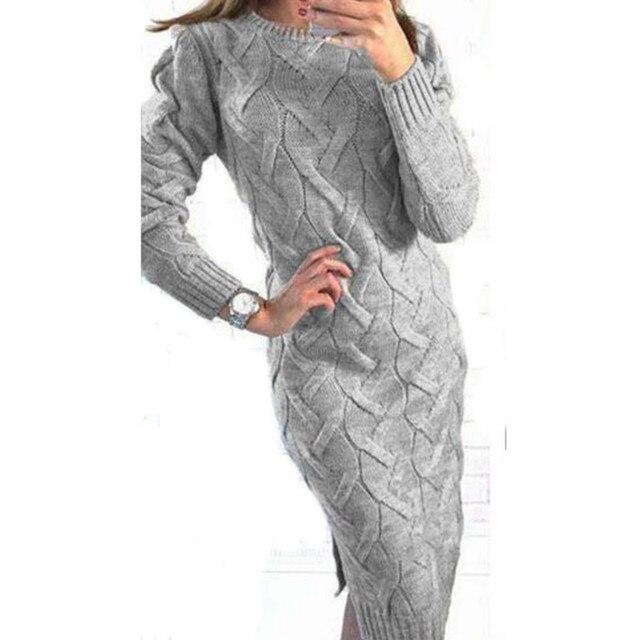 New Winter Autumn Fashion 2016 Women Dress Split Hem Long Sleeve Knitted Dresses Warm Sweater Long Pullover Gray Vestidos