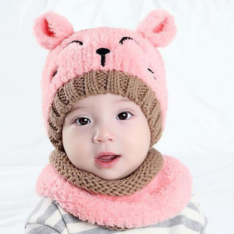 0-3T Winter Kids Bomber Hats Warm Baby Boys Girls Hat Cute Bear Hats for Toddlers Cartoon Knitted Wool Cap