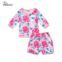Helen115 Newborn baby girl clothes Flowers Long Sleeve T-shirt+Shorts 2pcs Outfits Set 0-24M