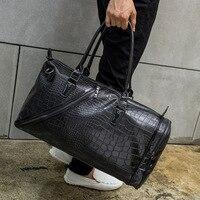 Famosos hombres de la marca de boston bolsos de alta calidad de los hombres viajan bolsos de los bolsos de cuero de cocodrilo estilo boston diseñador hombres bolsas de hombro